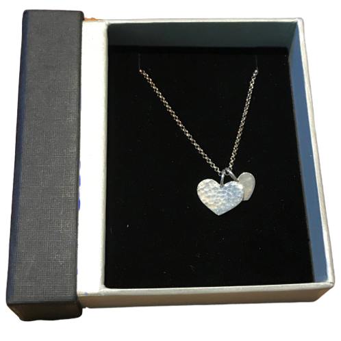 Stirling silver necklace- two hammered hearts