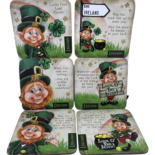 Irish Leprechaun Coasters- 6pk