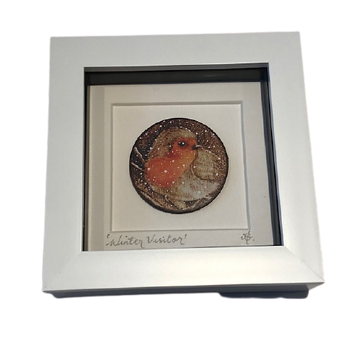 Hand finished Framed Pyrography Robin print
