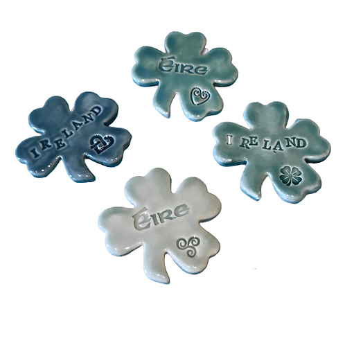 Pottery shamrock magnets- handmade