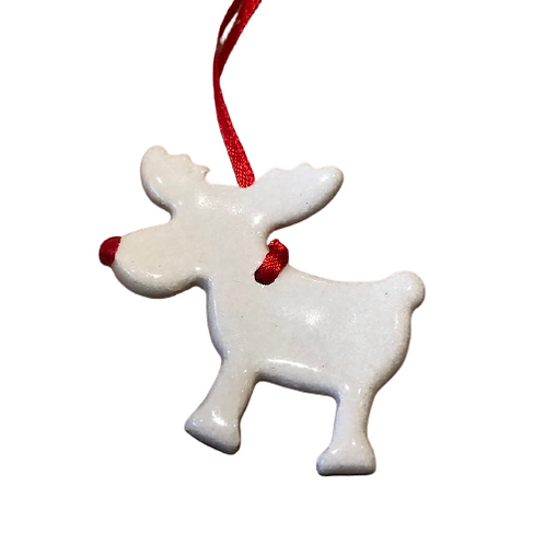 Handmade pottery reindeer decoration