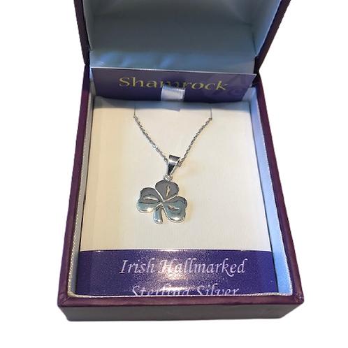 Irish shamrock stirling silver necklace
