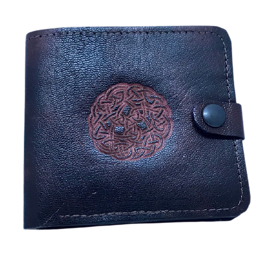 Leather wallet with Celtic design