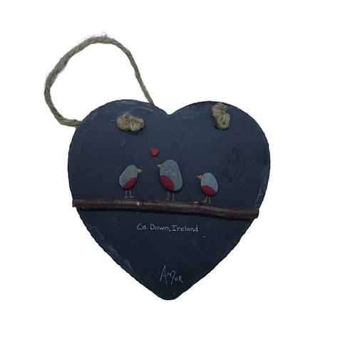 Pebble slate heart- Robins