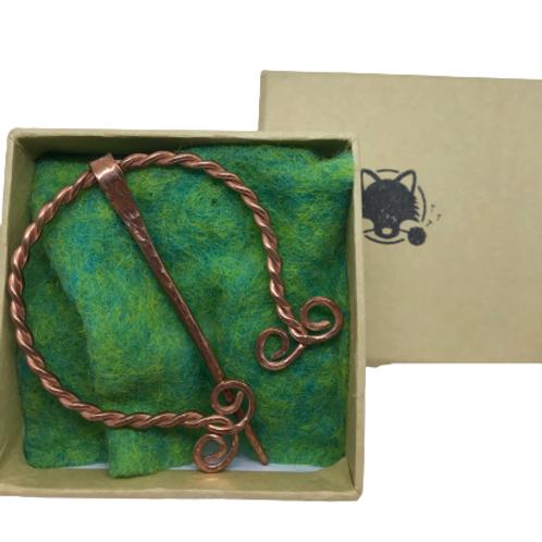 Celtic copper brooch