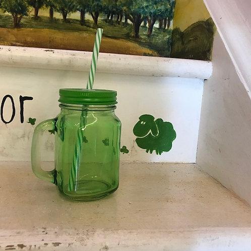 Mason Glass Jar w Straw