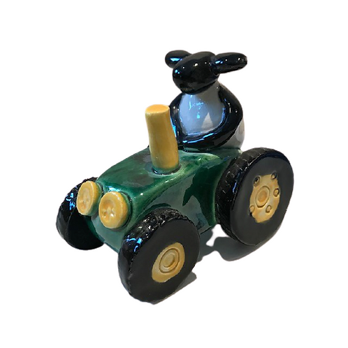 Pottery Sheep driving a Tractor