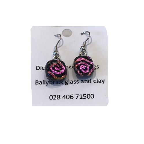 Dichroic glass earrings by Ballybrick-dangly