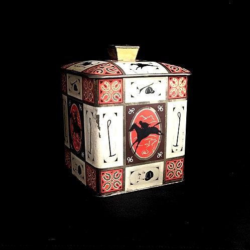 English Tea Tin Box with Jockey Pattern