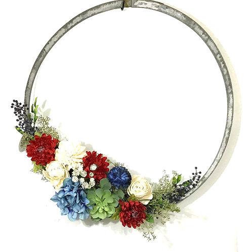 Wine Barrel Wreath with Americana Floral