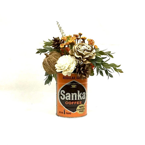 Vintage Sanka Can with Fall Floral