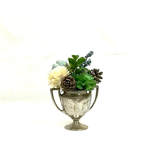 Vintage Silver Sugar Bowl with Floral