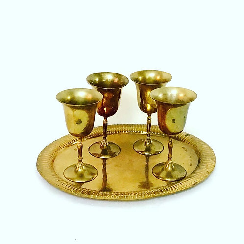Gold Plate Goblets and Tray