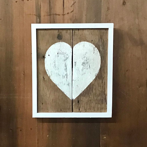 Handpainted Heart Wall Art - 2 Plank Large