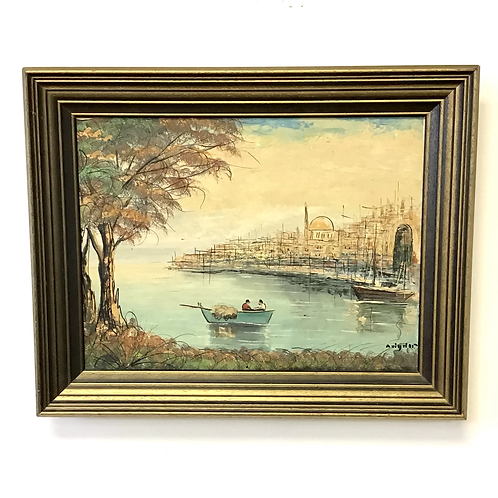 City from the Cove Signed Painting