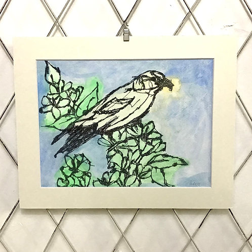 Watercolor Painting of Bird in Tree
