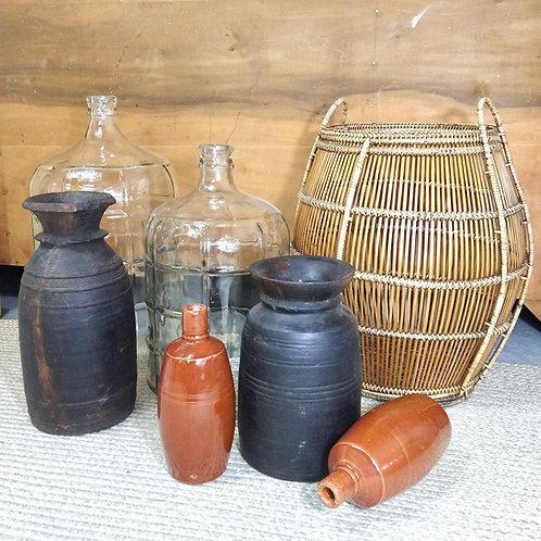 Vintage Portuguese Clay Wine Bottle