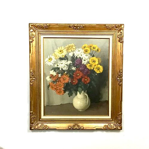Floral Painting with Gold Chunky Frame