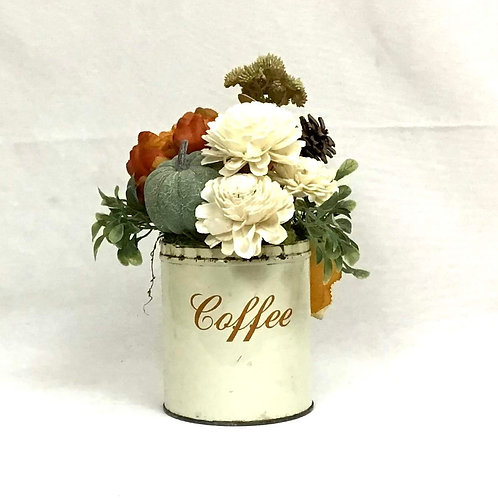 Vintage Coffee Canister with Fall Floral