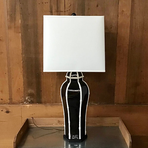 Vintage Black and White Lacquer Table Lamp