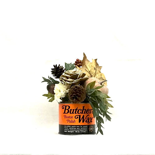 Vintage Butcher Wax Can with Fall Floral