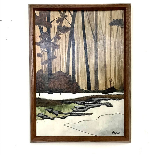Pen and Ink Framed Landscape