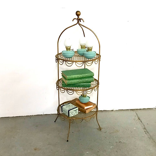 Gilt Rope 3 Tier Stand