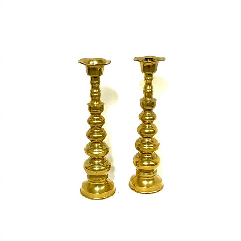 Stacked Brass Candle Holder