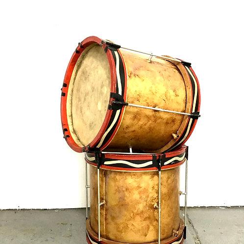 Metal Drum Side Table Ottoman