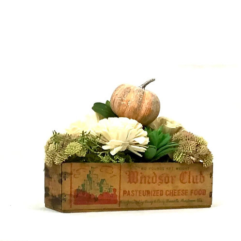 Cheese Box with Fall Floral Arrangement