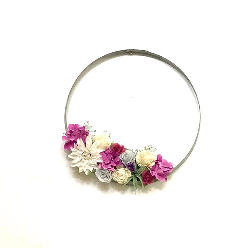 Wine Barrel Wreath - Burst of Pink