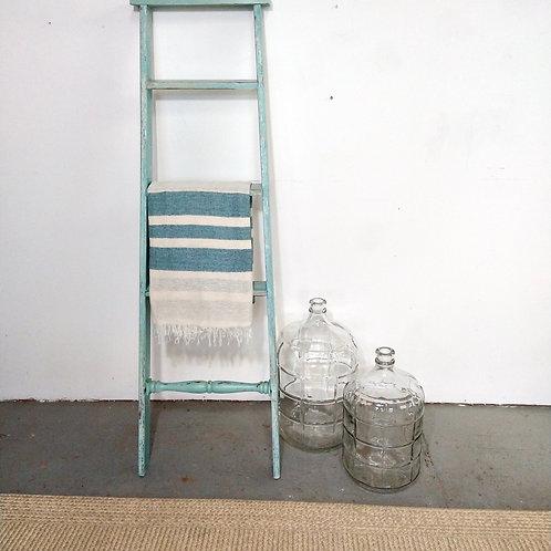 Teal Striped Ladder Blanket