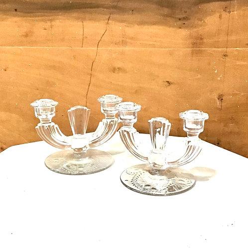 Vintage Etched Crystal Candleholder Set