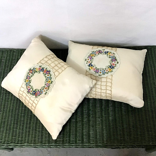 Pillow with Vintage Flower Chain Applique