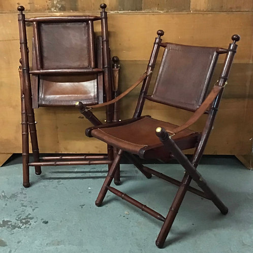 Leather and Bamboo  Campaign Chair