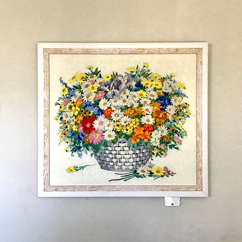 Framed Needlepoint Floral Bounty in Basket