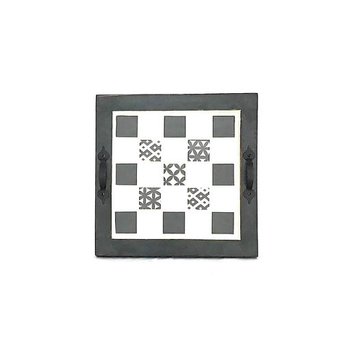 Boho Black Mosaic Tray - Square