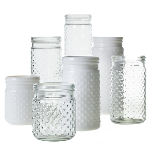 Hobnail Jam Jar - Milk Glass Large