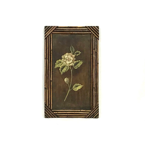 Floral Painting with Bamboo Frame