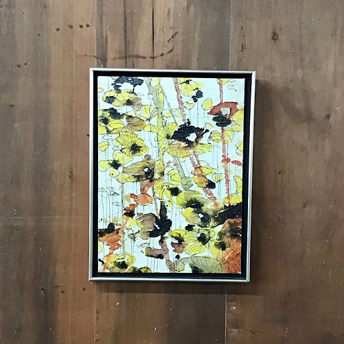 Yellow Flowers with Ink and Glaze Finish