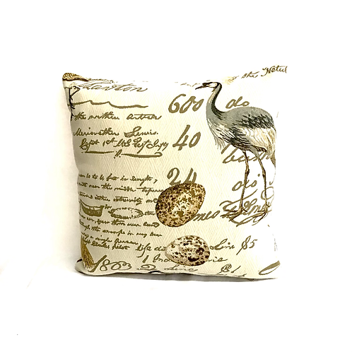 Pillow with Bird and Lovely French Script