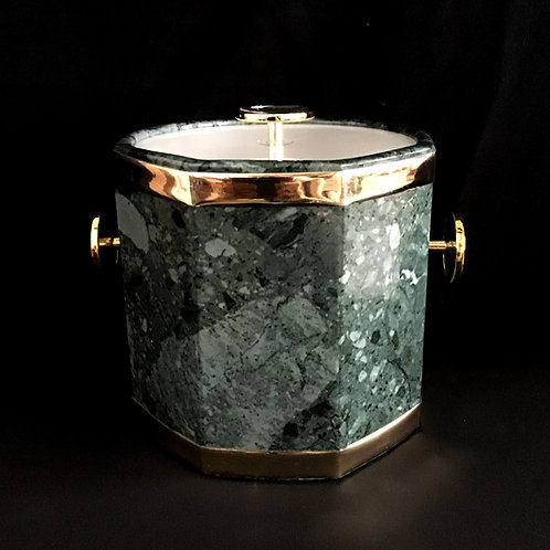 Stylized Marble Ice Bucket with Gold Accents