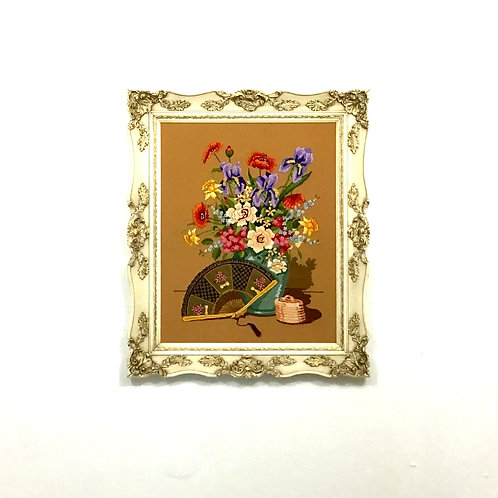Framed Needlepoint - Floral with Fan