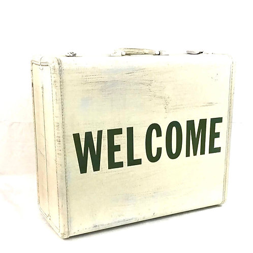 Welcome Vintage Suitcase