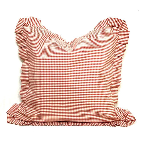 Red and White Check Pillow Cover