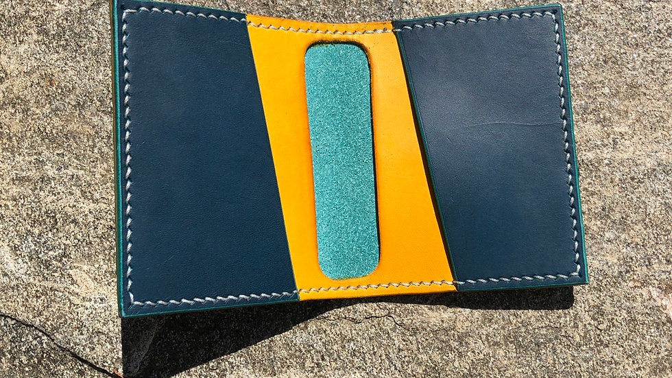 Minimalist leather card wallet, Mediterranean Blue with yellow lining