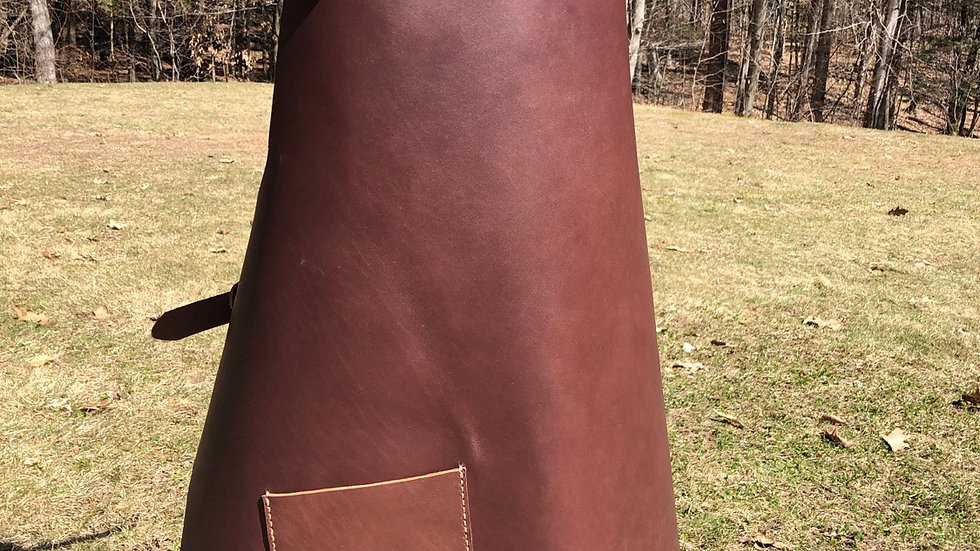 Brown Leather Apron with pocket