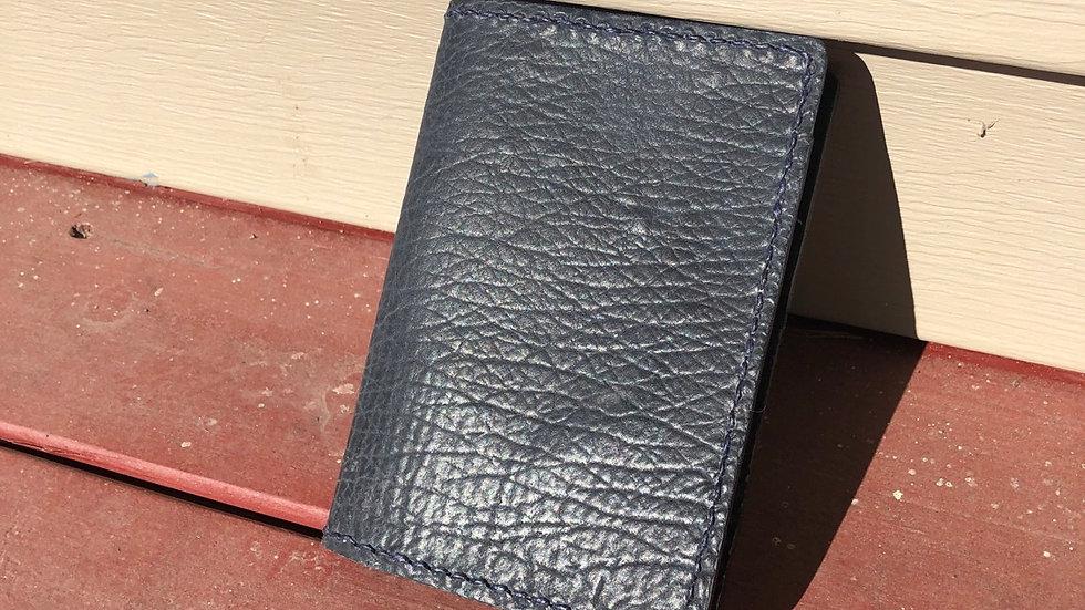 Navy Shark Leather Passport Wallet