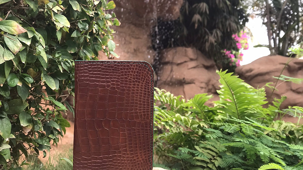 Cognac Alligator Passport Wallet