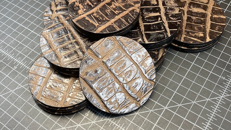 Crocodile Print Italian Leather Coasters